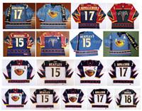 Vintage Atlanta Thrashers Jerseys 17 Ilya Kovalchuk 15 Dany Heatley 18 Marian Hossa Azul Vermelho Branco Hóquei