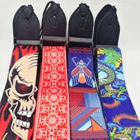 الغيتار الكهربائي الصوتية والباس حزام الأشرطة حزام متعدد الألوان الغيتار قابل للتعديل، والطباعة الملونة البوليستر، وينتهي الجلود