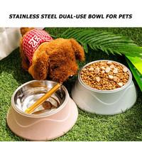 Edelstahl Hundeförderer Trinken Lebensmittel Wasser Rutschfeste Schüssel PET Cat-Versorgung 3 Farben Haustier Fütterung Wesentliche Liefert Dropshipping
