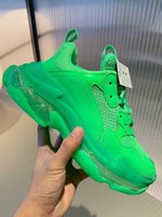 Paris cristal verde Triple Bottom-S Lazer sapatos do pai sapatos de plataforma Triple S Sneakers Homens Mulheres Kanye Vintage Old Grandpa instrutor