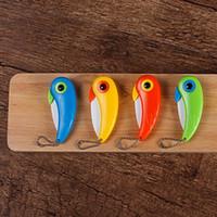 Keramik-Papageien-Vogel-Messer-Taschen-Folding-Vogel-Messer-Frucht-Schnipsel-Messer aus Keramik mit buntem ABS Griff Küche Werkzeugen YSY332-L