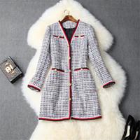 2019 rivestimento di modo delle donne di inverno pista di modo del manicotto del V collo plaid di lana tweed giacche e cappotti vintage tuta sportiva casuale