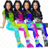 2020 femmes Pantalons Survêtement Tie Dye Leggings Mode et manches courtes T-shirt T Crop Tops Deux Piece Outfit Clubwear sport Tissu D42108