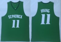 7f1523be1 NCAA New Kyrie Irving 11 St. Patrick High School Basketball Jersey Green  Stitched Retro Mens Shirts