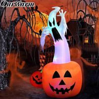 6 pies por mayor inflable de Halloween Calabaza del fantasma con LEDs de color cambiante Inflables Scary exterior Blow Up fantasma para Halloween