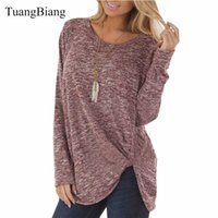 Hot Women clothing Loose O Neck tshirt long Sleeve Solid col...