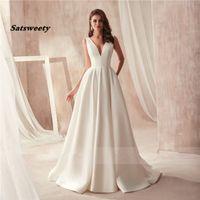 Célèbre design robe de mariée en satin avec coupe-circuit de poche V-cou côté dos ouvert robe de mariée de poche robe longo de festa