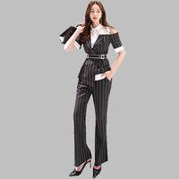 HAMALIEL été Suits Pantalons femmes rayé Patchwork Encolure Baissez col de chemise + travail Flare Costumes de pantalon