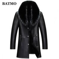 BATMO 2018 new arrival winter high quality real leather  fur collars trench coat men ,men's winter Wool Liner parkas AL18