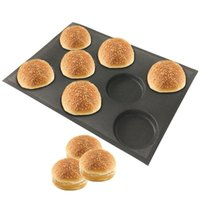 8 تجويف سيليكون همبرغر الخبز نماذج مثقوبة المخابز قالب غير عصا الخبز صفائح صالح نصف بان الحجم
