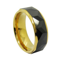 8mm gold and black Tungsten Ring two clolors two tone Step edges facet surface for men fasshion jewelry ring
