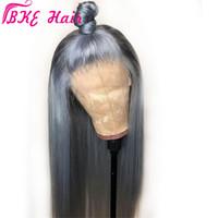 simulación de alta calidad cabello humano gris suave y sedoso frontal del cordón del color oscuro pelucas con pelo del bebé Pre arrancó la peluca sintética del cordón para las mujeres negras