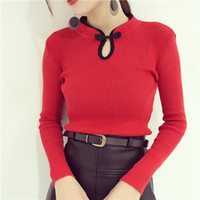 retro gola fio estilo cheongsam chinês novo design das mulheres de malha fina cintura manga longa camisa camisola topos