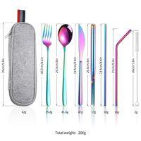 8pcs / Définir des ustensiles de voyage portables réutilisables Ensemble de couverts en acier inoxydable réutilisable Couteau de couteau de fourchette à cuillère à la cuillère paillettes dîners de brosses T2I5802