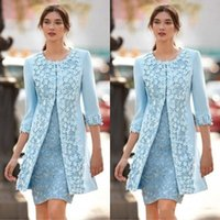 Elegante 2020 luce blu della madre della sposa Abiti da partito di pizzo con giacca gioiello testa guaina pizzo floreale raso raso corto abito da sposa abito da sposa