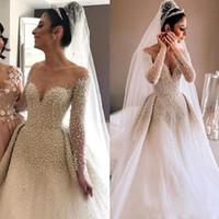 Arabe Sheer Manches Longues Tulle Une Ligne Robes De Mariée 2019 Perles De Perles Ruché Tribunal Train Robes De Mariée BC1543