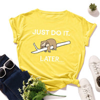 100% Cotton Summer Woman T- Shirt Cartoon Sloth Print Women T...