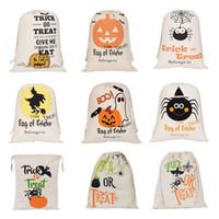 Хэллоуин конфеты мешок подарков Sack Лечить или Trick Тыква Печатный Холст Сумки Hallowmas Christmas Party Фестиваль Drawstring сумка