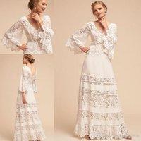 Elegante weiße A-Line Lace Brautkleider 2020 Bell Sleeve Plus Size V-Ausschnitt BHLDN voller Länge Lace Chiffon böhmischen Hochzeit Brautkleid