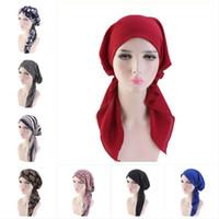 Femmes musulmanes Hijabs Imprimés Chapeaux Perruques Turban Tête Foulard Chemo Cancer Bonnet De Perte De Cheveux Chapeau Longue Queue Arc Bonnet Large Bande Wrap Cap