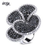 Deczign 2019 Great Product Flower Big ring Pave Jet and Clea...