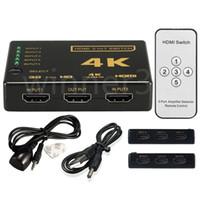 HDMI الفاصل تحويل صندوق الترا HD 5 بورت 4K 3D 1080P IR التحكم عن بعد محدد 5 في 1 موسع لHDTV 1080P مقاطع فيديو