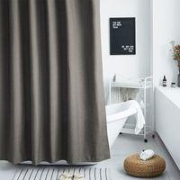 Elegante y agraciada similar al lino, cortina de ducha de poliéster cortina de partición Perforación libre impermeable a prueba de moho espesado Cortina Baño