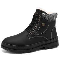 Épais en peluche snowboots hommes Bottes d'hiver Bottes en cuir imperméable Hommes lacent Plateforme Bottes militaire Boot Hommes Chaussures Hiver