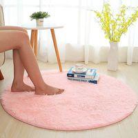 Alfombra redonda de Yoga para Fitness alfombra redonda mullida alfombras de piel sintética sedosa alfombras para habitación de niños alfombras largas de felpa para dormitorio alfombra de área peluda
