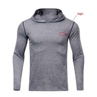NEW 2019 봄 가을 스포츠 마른 프로 브랜드 로고 타이츠 후드 야외 땀 농구 축구 트레이닝 T 셔츠 맨 실행중인 조깅 남자