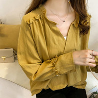 4XL Plus Size Women Cotton Shirt V Neck Long Sleeves Yellow ...