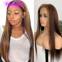 Brasilianisches Reines Haar 4 27 Spitzenfrontperücken Gerade 13x4 Spitze Front Wig 10-28inch 4/27 Zwei Töne Farbe Jungfrau Günstige Haare