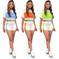 Frauen getäfelten Sweatsuit mit Kapuze 2 Stück Set Kurzarm T-shirt + Mini Shorts Mode Sommer Kleidung Casual Jogger Anzug Slim Outfits 2839