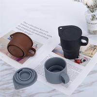 10 oz silicone pliable réutilisable Tasses à café Pliable tasse d'eau avec couvercle réutilisable extensible portable pliant Camping Tumbler Tasse 6065