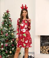 2019 mulheres designer de vestido de Papai Natal de impressão vestido sexy da forma do Natal vestido de inverno festivo manga longa das mulheres WGLYQ56