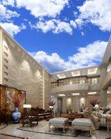 Mavi gökyüzü, beyaz bulut tavanlar Tavan Resimleri Duvar Sanatı Boyama Salon Yatak odası Tavan Arka Plan Duvar Kağıdı