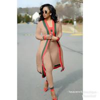 Yeni Varış Çizgili 3 Parça Setleri Rahat Kıyafetler Uzun Pelerin Straplez Tulum Bodysuit Kadın Giyim Setleri Kostümleri P74