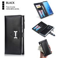 Couro Flip Case Wallet para Samsung S8 S9 S10 Plus 2 em 1 Zipper Cartão de bolso bolsa Slim Fit removível Caso tampa protetora