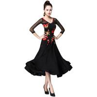 무대 착용 플래퍼 플로랄 볼룸 댄스 드레스 패턴 3/4 슬리브 현대 왈츠 탱고 부드러운 표준