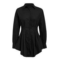 Batwing bureau blanc femmes mini robe dame robe chemise blouse plissée automne taille haute mince élégante robe courte