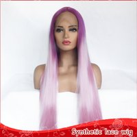 Top 26inch Purple Pink Color Long Straight Hair Cosplay Wigs...