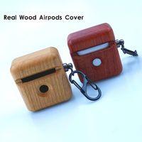 ريال الخشب Airpods حالة تغطية Ceative تصميم مخصص خشبي للحصول على اي Wirelss Airpod الموالية سماعة حالات الخيزران الشعبية