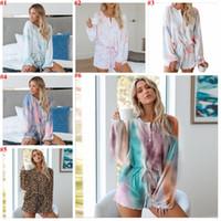 Kravat Boyama Payamas Baskılı Uzun Kollu Pijama Setleri Moda Eşofman Takım Iki Parçalı Gecelik Gecelik Pijama Seti Gecelik Ev Giyim Suit D7516