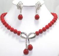 여성 웨딩 도매 고귀한 10 미리 메터 붉은 보석 목걸이 17 인치 펜던트 목걸이 귀걸이 세트 실버 보석 진짜 실버