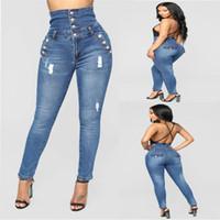 Primavera Casual Calzoncillos flaco señora caliente del rasgada para la mujer Denim lápiz de cintura alta Jeans Mujer Jeansy
