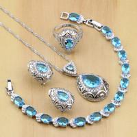 925 Sterling Silver sposa set blu Cubic Zirconia Tatuaggi per le donne Wedding l'orecchino / pendente / collana / anello / braccialetto