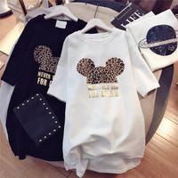 Frauen Designer T Shirts Marke Kleider mit Tier Schöne Maus Mode Neue Ankunft Sommerkleid Für Frauen Kurzarm Langes T-Stück Kleid M-XXL