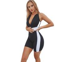 Летняя мода Bodycon Комбинезон легкий костюм с шортами Ромпер Женщины Передняя молния высокой талией One Piece Outfit Активный Wear