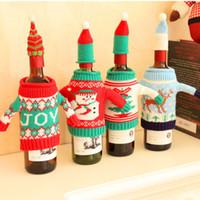 Weinflasche-Abdeckungs-Beutel Weihnachtsmann-Schneemann-Ren-Weihnachtsbaum-Strickjacke-Verzierungs-WeihnachtsPartei Dinnter Tischschmuck 4 Arten XD20793