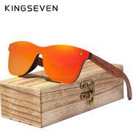 Marco KINGSEVEN sin montura gafas de sol polarizadas de madera Men Square UV400 gafas de sol de las mujeres Gafas de sol Hombre Gafas de sol Y200619 Femenino